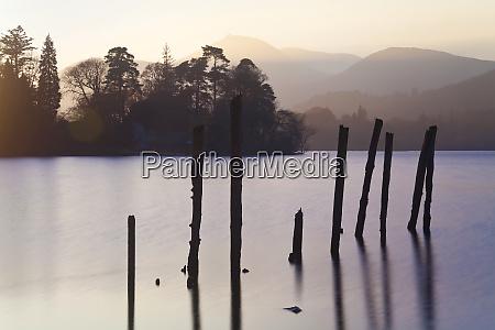 sunset derwent water lake district cumbria