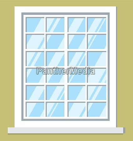 window big white glass frame interior