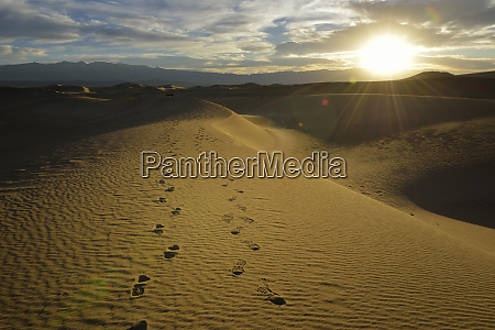 usa california death valley footprints on