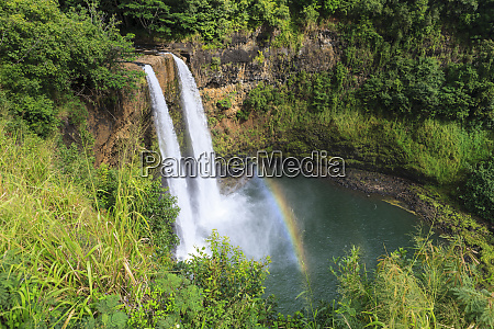 rainbow in wailua falls kauai hawaii
