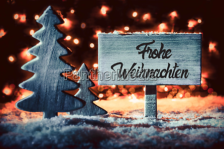tree sign snow calligraphy frohe weihnachten
