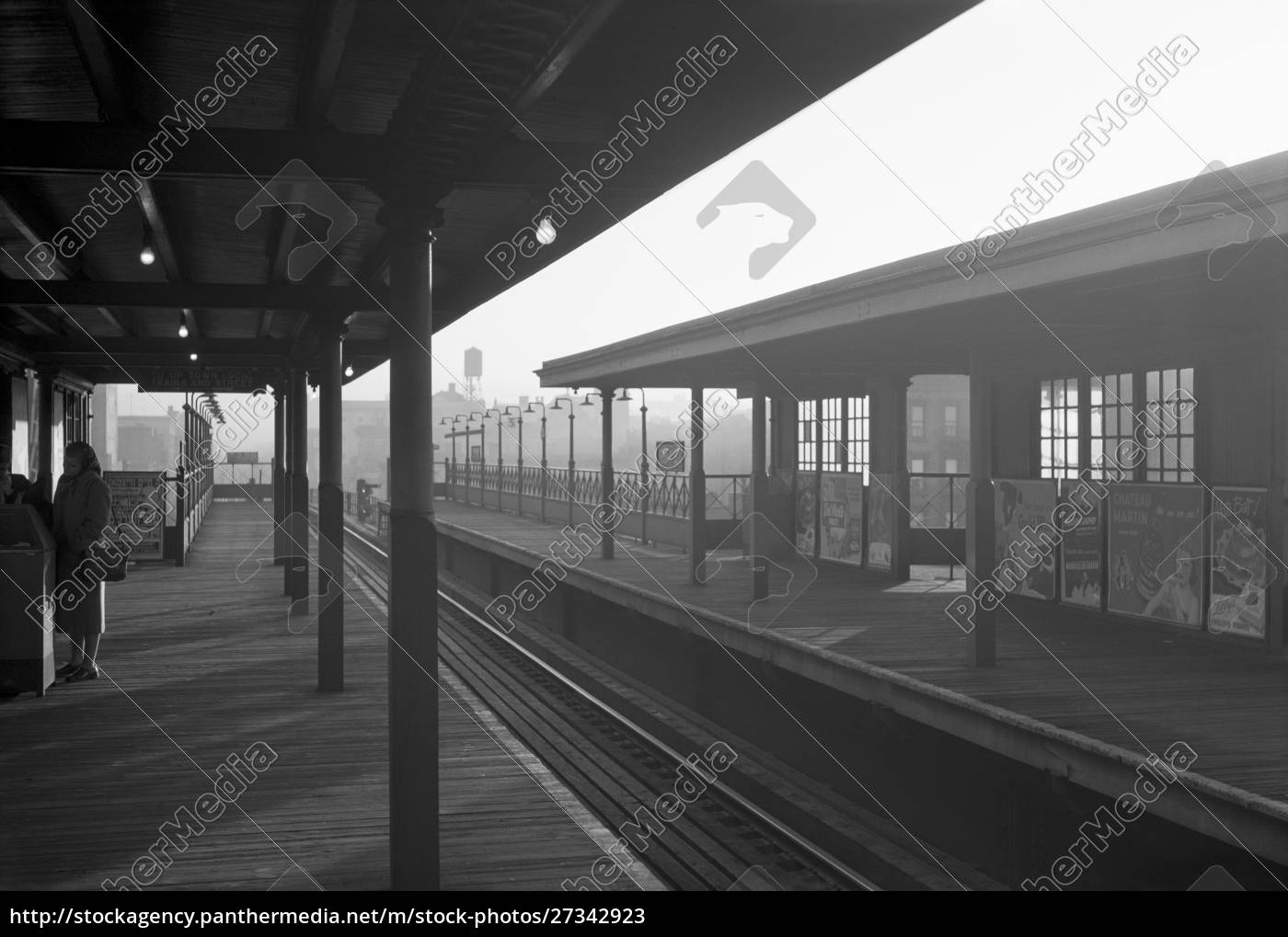 elevated, subway, station, , manhattan, , 1948, , new - 27342923