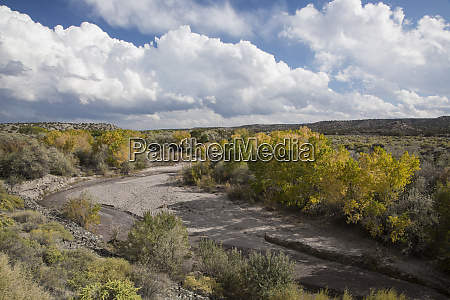 usa new mexico a riverbed winding