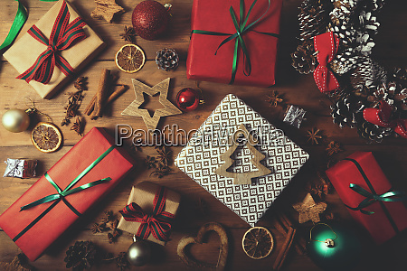 christmas background wrapped gifts and