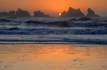 usa oregon bandon beach sunset
