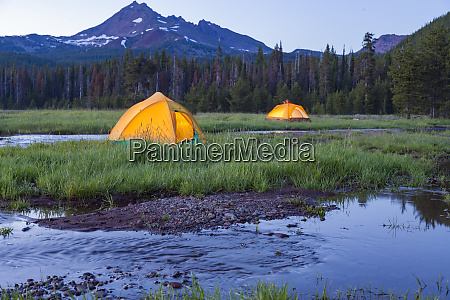broken top mountain and camping tent