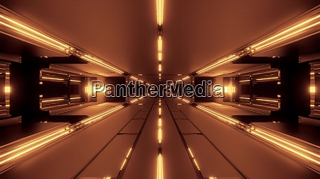 dark futuristic space tunnel corridor 3d