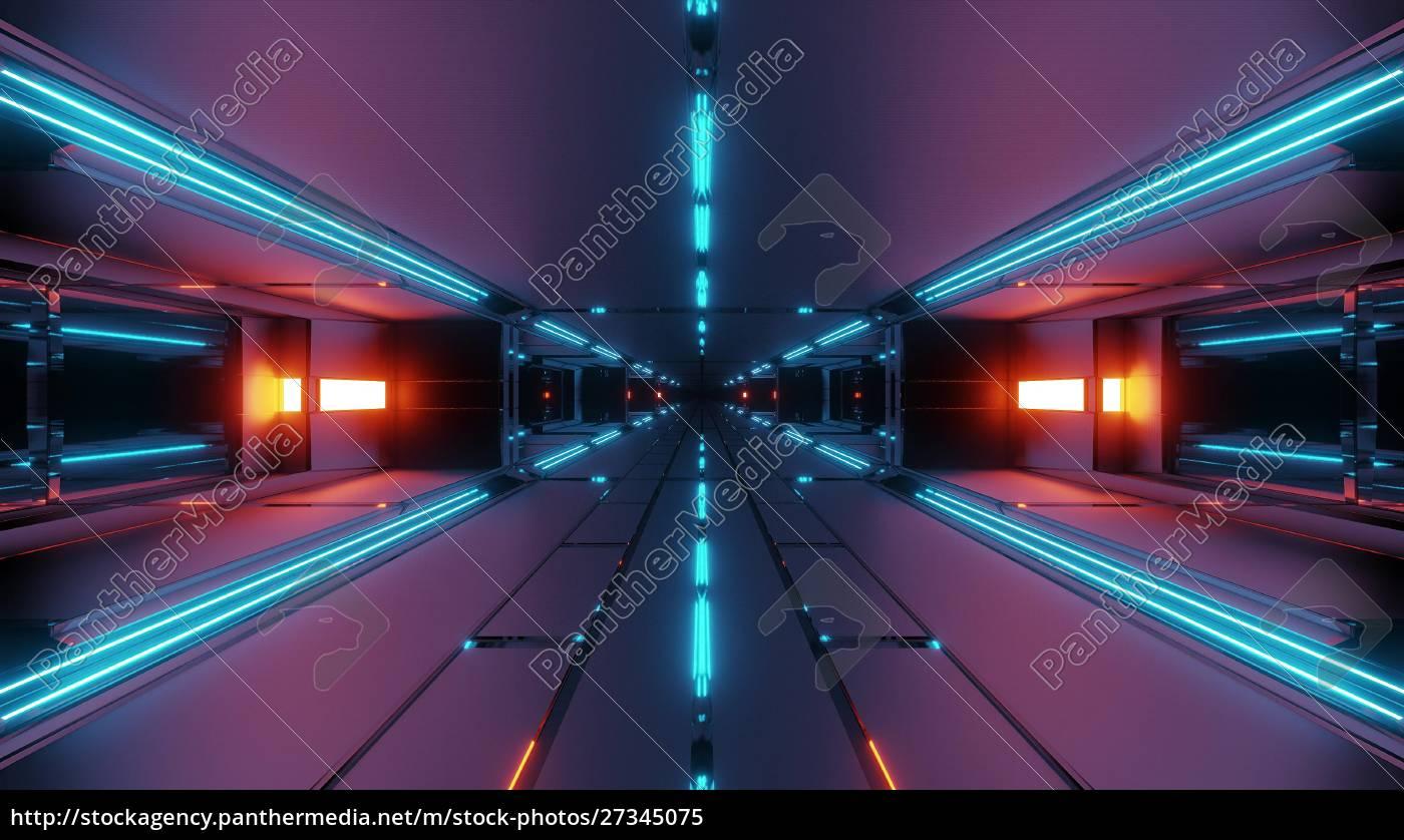 dark, futuristic, space, tunnel, corridor, 3d - 27345075