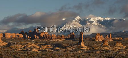 usa utah arches national park sunset