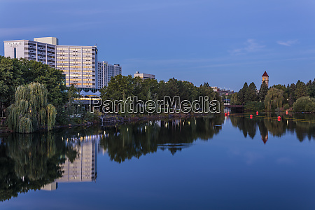 looking down the spokane river from