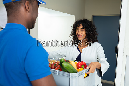 grocery delivery courier at home