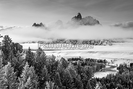 grand, teton, and, layers, of, fog, - 27348837