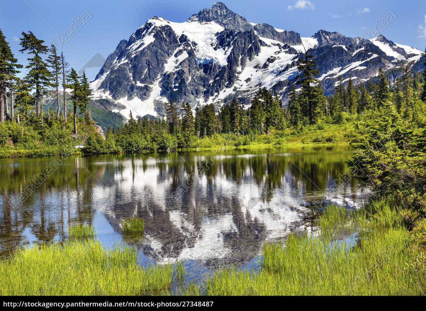 mount, shuksan, reflects, into, picture, lake, - 27348487