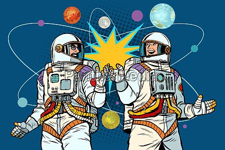 cosmonautics day two astronauts together