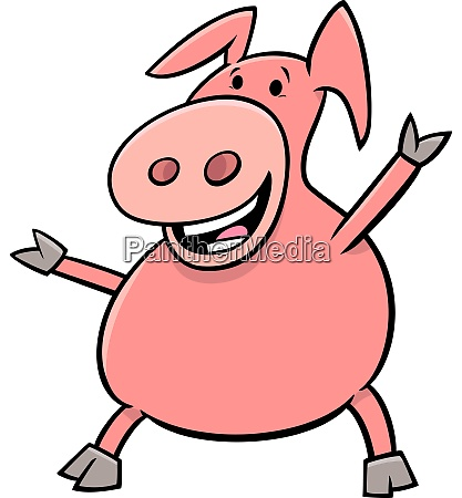 happy pig animal character cartoon illustration