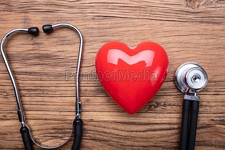 stethoscope near heart shape