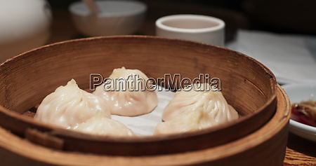 steamed meat dumpling in restaurant