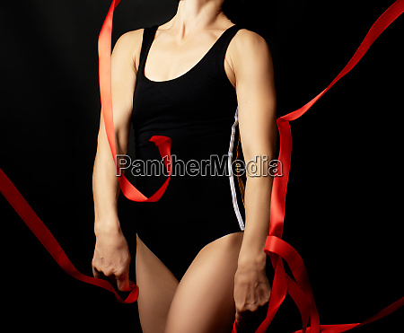 body young woman gymnast of caucasian