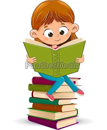 little girl reads books