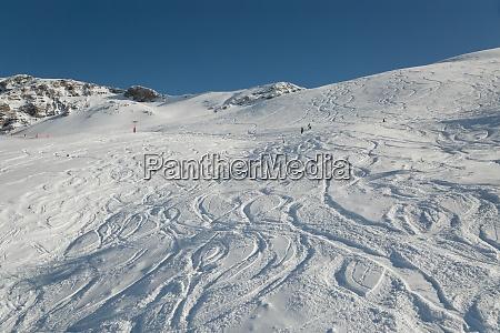 ski slope with fresh curves