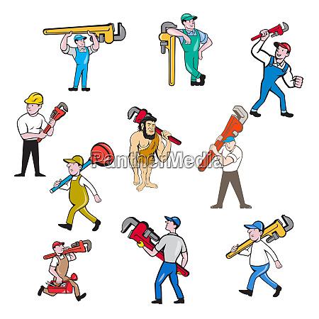 plumber cartoon set