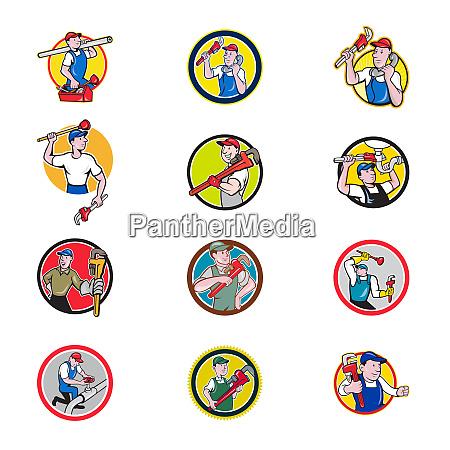 plumber mascot circle cartoon set