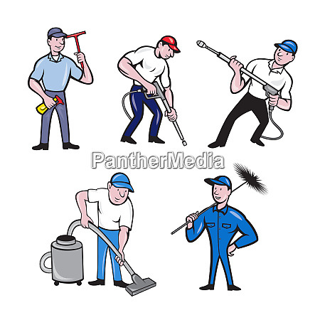 cleaner cartoon set