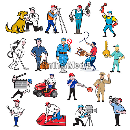 tradesman mascot cartoon set