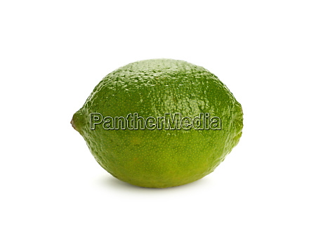 close up one whole green lime