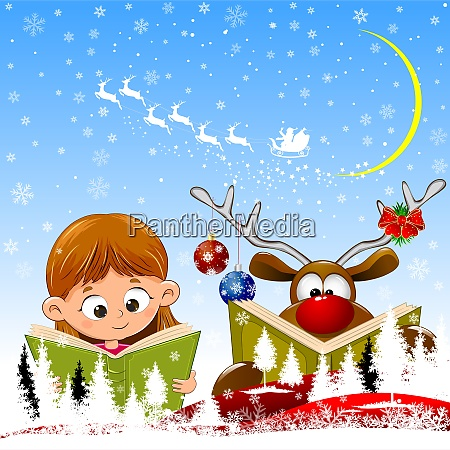 baby girl and reindeer read books