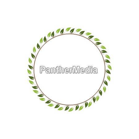 vintage floral round frames green decorative