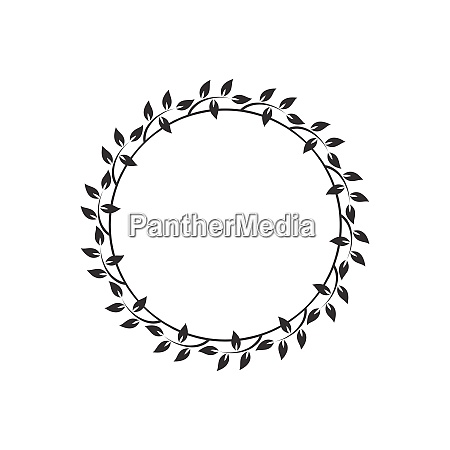vintage floral round frames black decorative