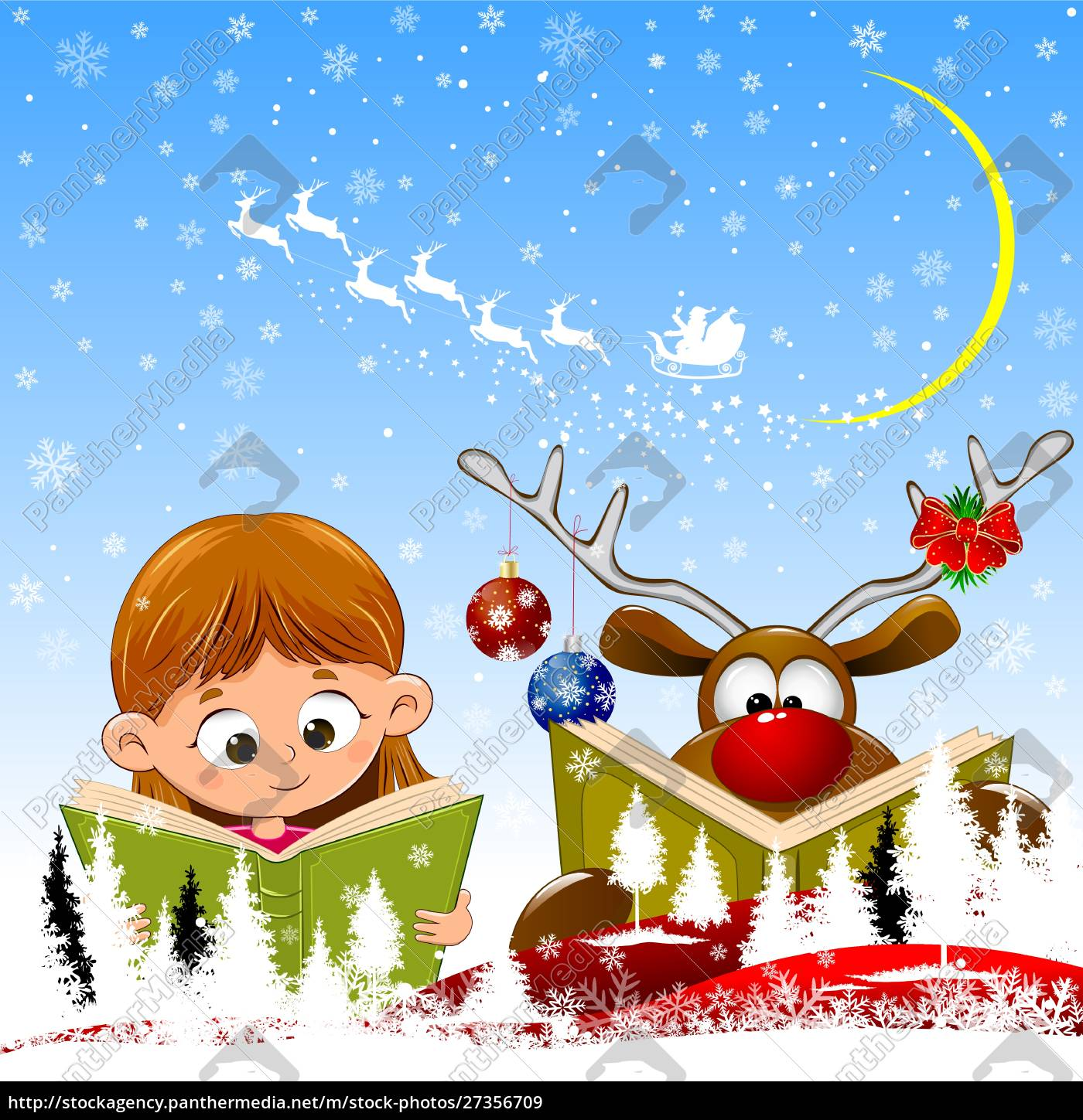 baby, girl, and, reindeer, read, books - 27356709