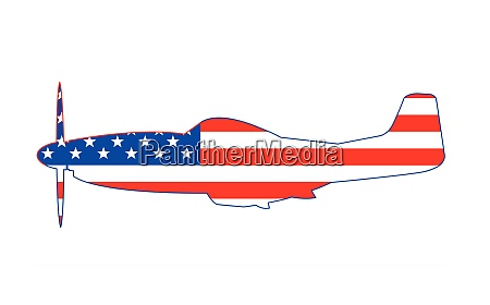 mustang usa ww2 fighter on flag
