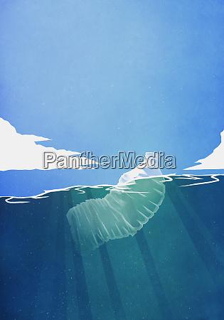 plastic bottle floating in ocean