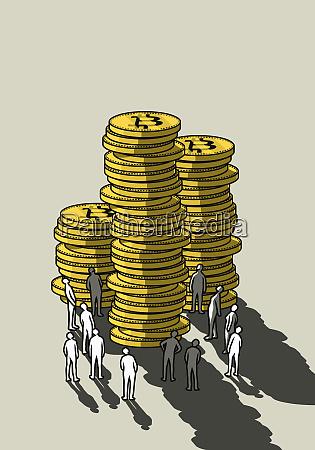 people looking up at tall bitcoin