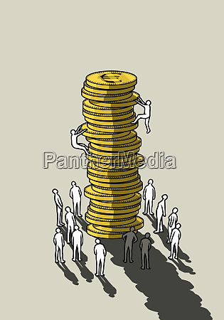 people climbing tall stack of euro