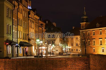 old town at night warsaw poland