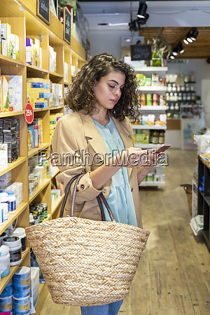 young woman shopping in a food