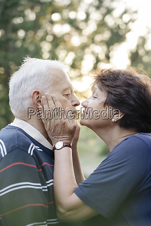 profile of senior couple in love