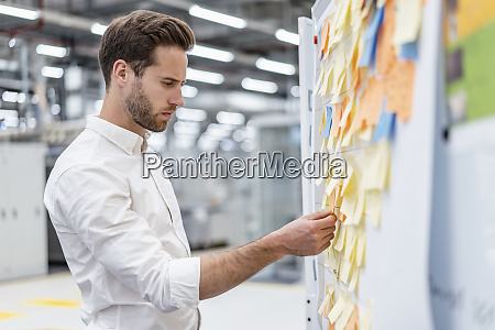 businessman organizing adhesive notes on a