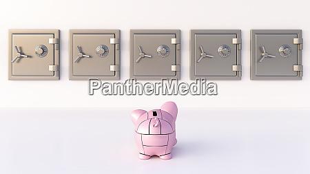 rendering of pink robot piggy bank