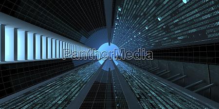 digital tunnel 3d illustration