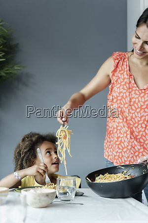 mother serving pasta meal for daughter