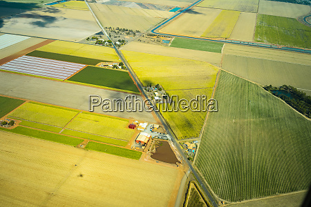 aerial view of green cultivated fields
