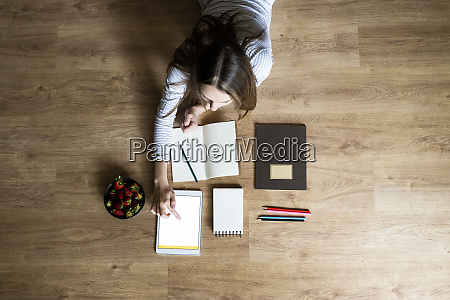 top view of young woman lying