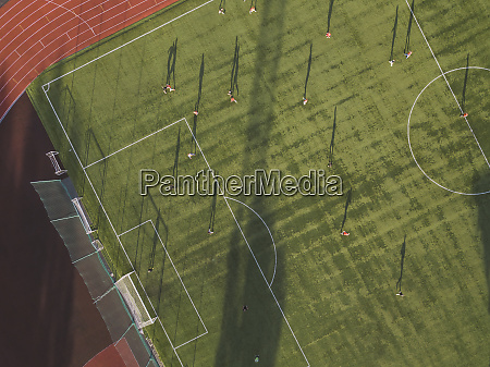 aerial view of football player on
