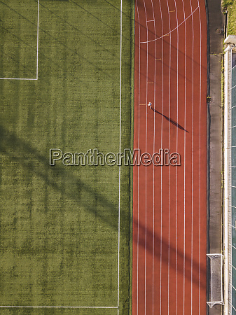aerial view of soccer field and