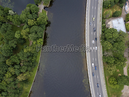 aerial view over great nevka river