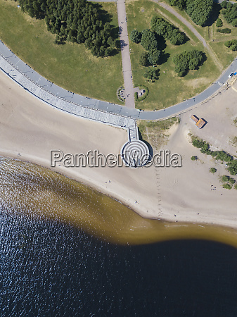 aerial view over beach park st